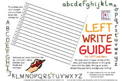 Left handed writing mat