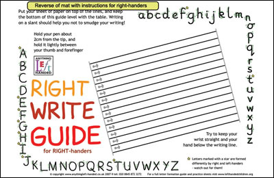 Right handed version of the writing guide mat