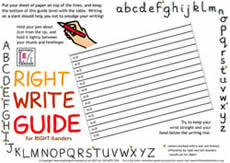 writing guide for right-handers